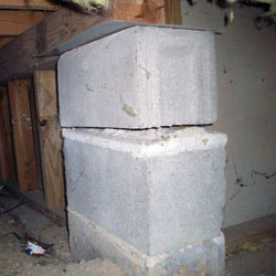 Collapsing crawl space support pillars Schererville