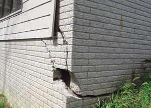 A severely damaged foundation wall in Michigan City