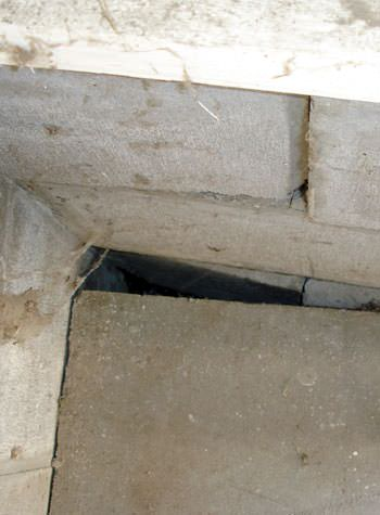 inward rotation of a foundation wall damaged by street creep in a garage in Griffith